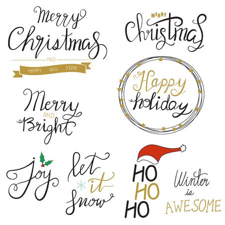 Merry Christmas oro scintillante disegnare disegnare il design lettering. Archivio Fotografico - 88079547