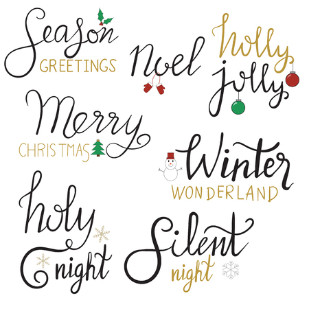 Merry Christmas gold glittering hand draw lettering design.