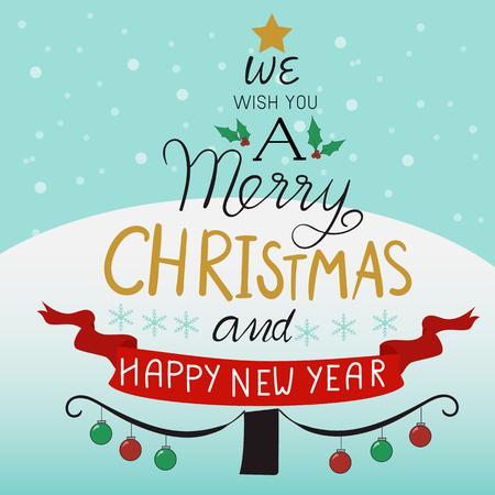 Frohe Weihnachten Baum Hand zeichnen Schriftzug Design Standard-Bild - 88079549