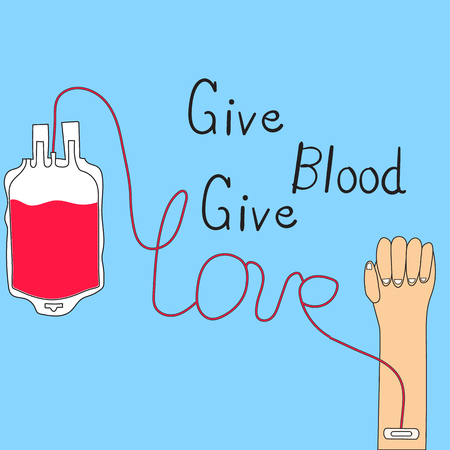 Blood Donation Concept give blood give love vector.illustration EPS 10. Vectores