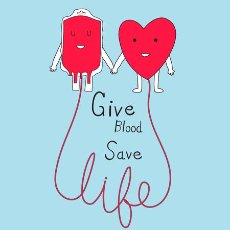 Il concetto di donazione di sangue fornisce il vettore di vita sicura di sangue.illustrazione EPS 10. Archivio Fotografico - 89172394