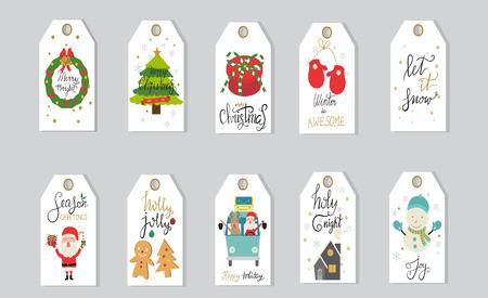 Geschenkmarken der frohen Weihnachten übergeben die Beschriftung, die für Winterurlaubvektor eingestellt wird. Abbildung EPS10. Vektorgrafik