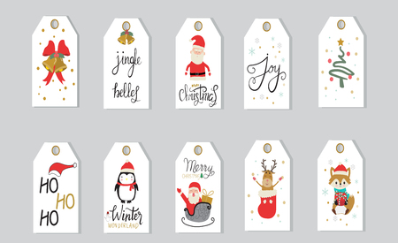 Merry christmas gifts tags  hand lettering  set for winter holidays vector. illustration EPS10.