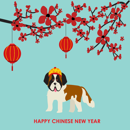 Happy Chinese New Year 2018 with dogs in chinese costume illustration