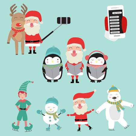 Santa Clause activities with penguins polar bear and reindeer for winter holidays vector. illustration eps10.