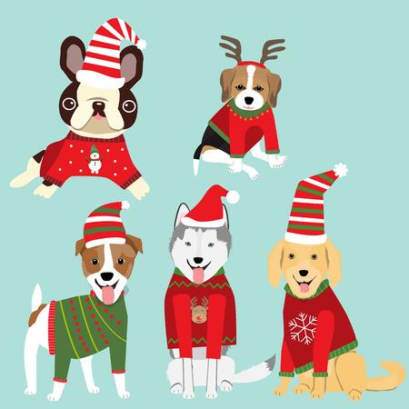 Psy w świątecznym swetrze celebret na zimowe powitanie sezonu. Ilustracja. Eps10.
