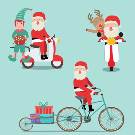 メリー クリスマス サンタ クロースのエルフとトナカイの自転車とスクーターのベクトルに乗る。EPS10 の図。  イラスト・ベクター素材