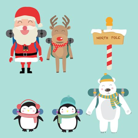 Santa claus elf and reindeer  polar bear penguins backpack to north pole vector. illustration EPS10.