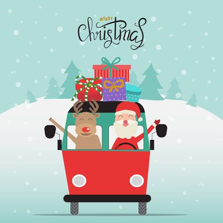 Merry christmas santa claus and reindeer with gift boxes on the van vector. illustration EPS10. Иллюстрация