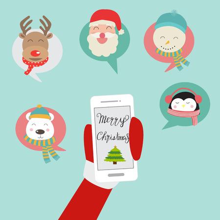 メリー クリスマス サンタ クロース携帯電話ソーシャル ネットワーク ベクトル。図 eps10。