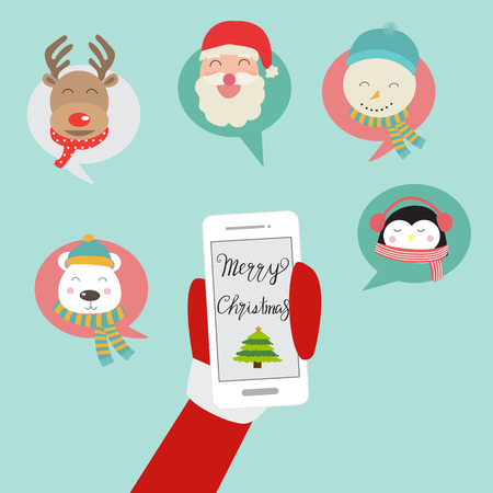 Merry Christmas santa claus on mobile phone social network vector. illustration eps10.