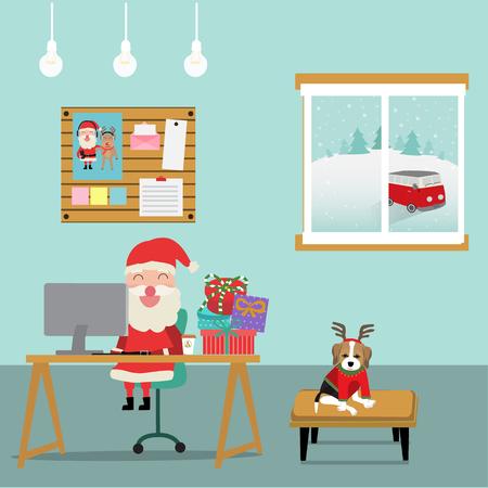 Joyeux Noël père Noël travaillant dans la salle avec le vecteur de chien de Rennes. illustration EPS10. Banque d'images - 91003168