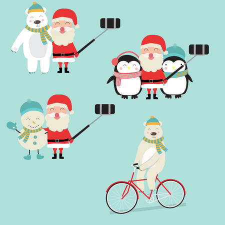 Santa Clause Activities with penguins snow manpolar bear and reindeer for winter holidays vector. illustration EPS10.