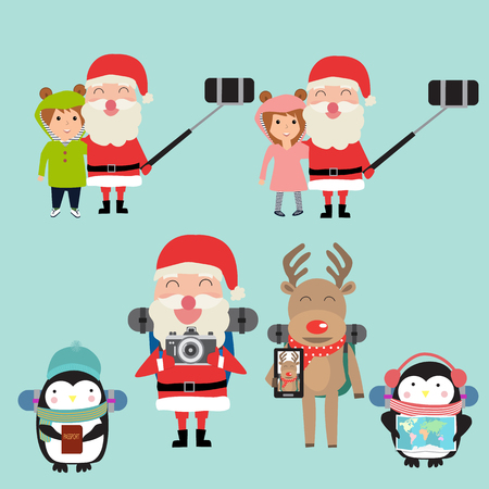 Santa claus selfie with children and reindeer  polar bear penguins backpack vector. illustration EPS10. Иллюстрация