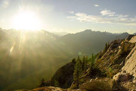 Rocky Mountains, Banff National Park, Alberta, Canada. The photo was taken before the sun went down around Banff Gondola.