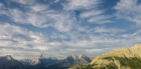 Shot of never ending mountain range next to the Banff Gondola was taken during my first trip to the Canadian Rockies shortly before sunset. I have never forgotten the view. Stockfoto