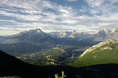 Spectacular view of the valley around Banff Gondola in the Rocky Mountains, Banff National Park, Alberta, Canada.
