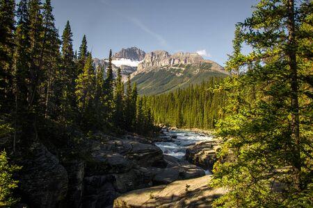 Walking around Sunwapta river in the Rocky Mountains, Jasper National Park, Alberta, Canada.