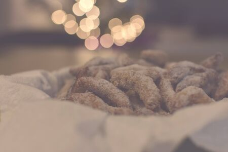 Czech, German and Austrian traditional Christmas cookies vanilla crescents on decorated tray powdered with castor sugar