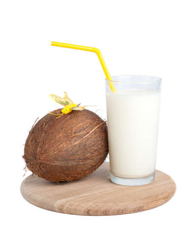 coconut and milk, isolated on white