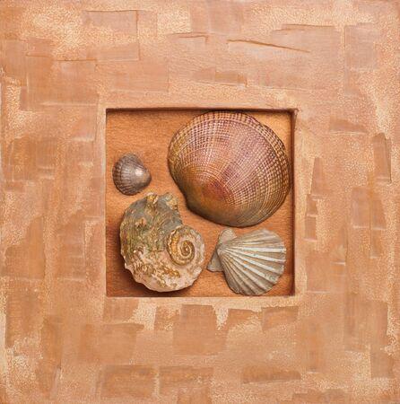orange pattern with differen shells photo