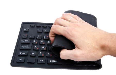 flexible keyboard, isolatet on white Stock Photo