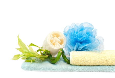 loofah, bamboo and towels
