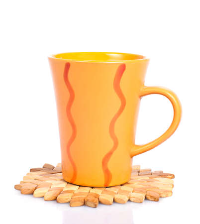 trivet: cup on a stand of juniper, isolated on white