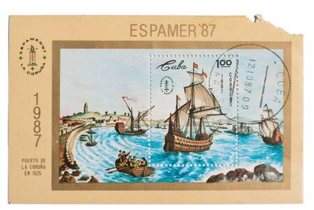 CUBA - CIRCA 1987: A stamp printed in the Cuba showing   image wind-driven ships, circa 1987