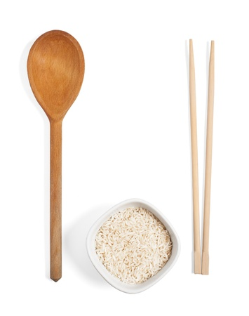chopsticks and rise, isolated on white photo