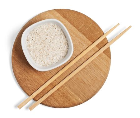 trivet: chopsticks and rise, isolated on white