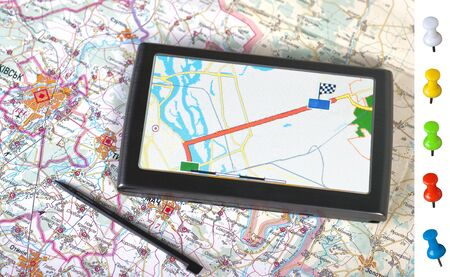 a gps navigator, map and POI photo