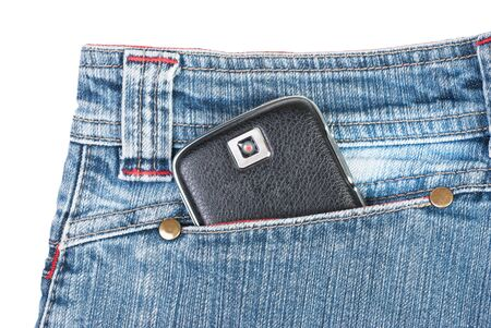 a phone in jeans pocket removed the flash and the logo, changed shape and color cameras photo