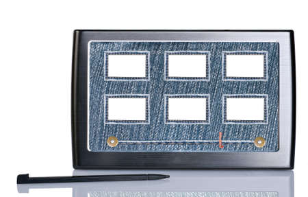a slideshow on tablet pc with jeans navigation photo
