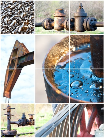 oil extraction, collage from 6 photo Stock Photo