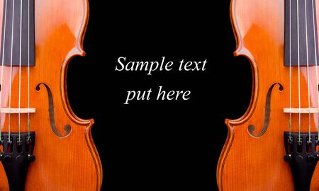 a violin with sample text