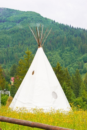 plains indian: a wigwam in a mountains