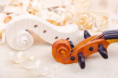 violin making: a making part of violin from wood  Stock Photo