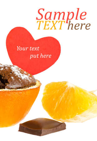a souffle in orange, chocolate and  orange slicesll with heart message photo