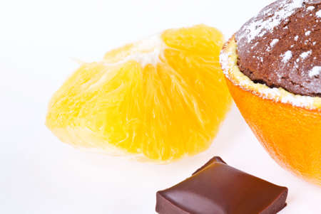 a souffle in orange with powder sugar and chocolate Stock Photo - 13706769