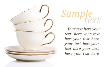 three cup and plate isolated on white with sample text Stock Photo - 13706904