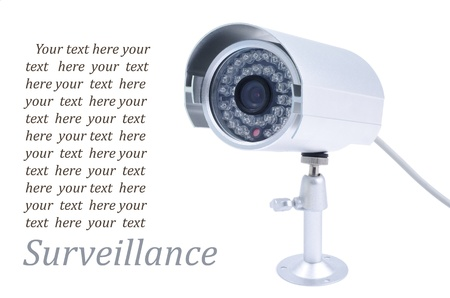 Surveillance camera isolated on white photo