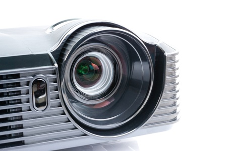 a projector, isolated on white photo