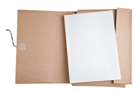 carpeta: archivo antiguo con papel en blanco Foto de archivo