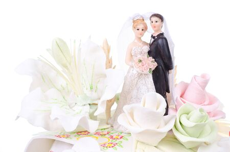 wedding cake decorated with flowers and figures newlyweds Stock Photo - 13706846
