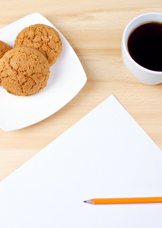 Blank notes on a desk with cup of coffee Stock Photo - 14027930