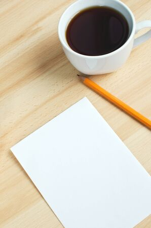 Blank notes on a desk with cup of coffee Stock Photo - 14027916