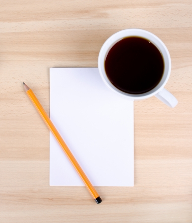 Blank notes on a desk with cup of coffee Stock Photo - 14027911