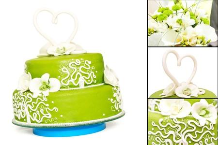 a green wedding cake