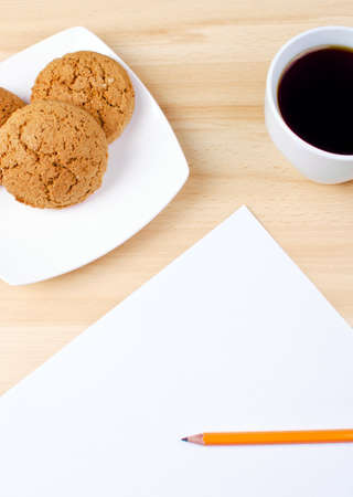 Blank notes on a desk with cup of coffee Stock Photo - 16138579
